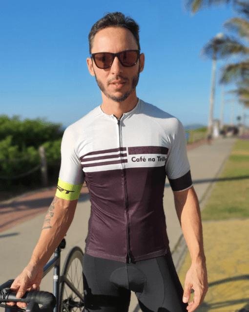 Camisa de ciclismo Café na Trilha - Coffee Beans -Tecido 100% poliéster com tratamento Xtreme Dry com proteção UV solar fator 50.