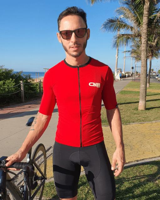 Camisa de ciclismo Vermelha Camisa Café na Trilha, Tecido 100% poliéster com tratamento Xtreme Dry com proteção UV solar fator 50.